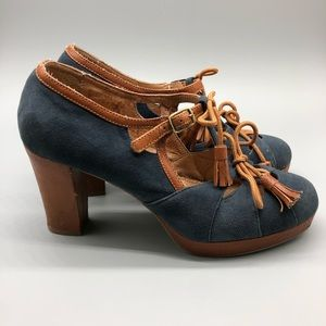 Anthropologie Miss Albright t-strap tassel heels